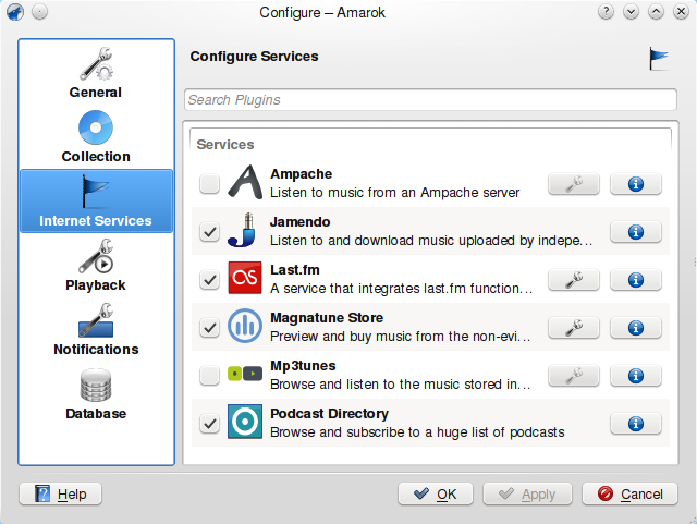 Configure Internet Services dialog