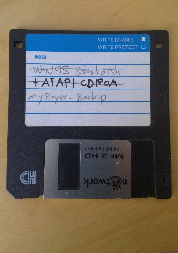 floppy disk with MyPlayer backup
